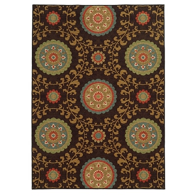 Floral Brown/ Multi Indoor Machine-made Nylon Area Rug (710 X 10)