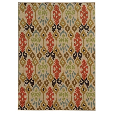 Abstract Beige/ Multi Indoor Machine-made Nylon Area Rug (710 X 10)