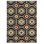 Floral Black/ Grey Indoor Machine-made Nylon Area Rug (33 X 55)