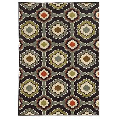 Floral Black/ Grey Indoor Machine-made Nylon Area Rug (710 X 10)