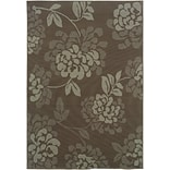 Floral Grey/ Blue Indoor/Outdoor Machine-made Polypropylene Area Rug (37 X 56)
