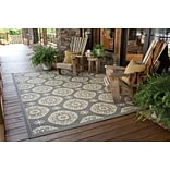 Floral Grey/ Gold Indoor/Outdoor Machine-made Polypropylene Area Rug (37 X 56)