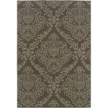 Floral Grey/ Blue Indoor/Outdoor Machine-made Polypropylene Area Rug (53 X 76)