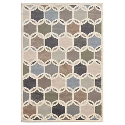 Geometric Circles Ivory/ Multi Indoor Machine-made Polypropylene Area Rug (710 X 10)