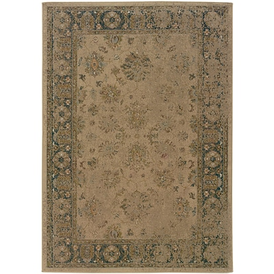 Distressed Old World Beige/ Blue Indoor Machine-made Polypropylene Area Rug (67 X 96)