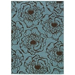 Floral Blue/ Brown Indoor/Outdoor Machine-made Polypropylene Area Rug (53 X 76)