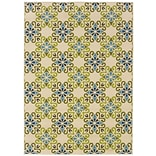 Floral Ivory/ Blue Indoor/Outdoor Machine-made Polypropylene Area Rug (37 X 56)