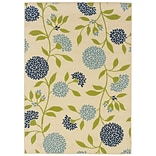 Floral Ivory/ Green Indoor/Outdoor Machine-made Polypropylene Area Rug (53 X 76)