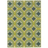 Floral Green/ Ivory Indoor/Outdoor Machine-made Polypropylene Area Rug (67 X 96)