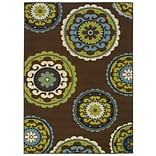 StyleHaven Transitional Floral Nylon 310 X 55 Brown/Green Area Rug (WALL054C14X6L)
