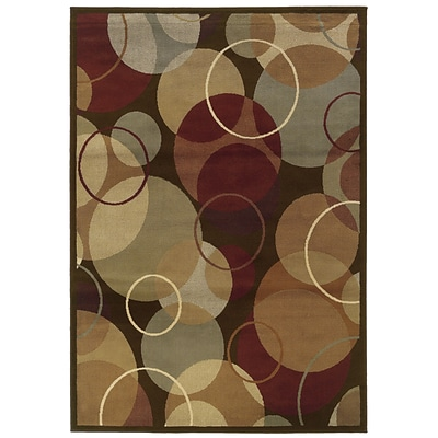Geometric Brown/ Gold Indoor Machine-made Polypropylene Area Rug (33 X 5)