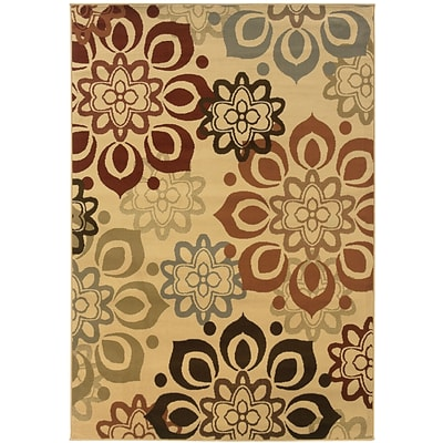 Floral Beige/ Rust Indoor Machine-made Polypropylene Area Rug (33 X 5)