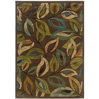 Botanical Brown/ Green Indoor Machine-made Polypropylene Area Rug (5 X 76)