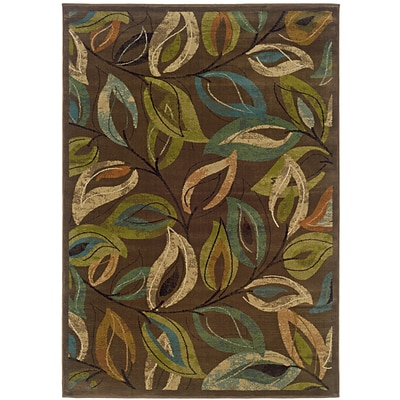 Botanical Brown/ Green Indoor Machine-made Polypropylene Area Rug (710 X 10)