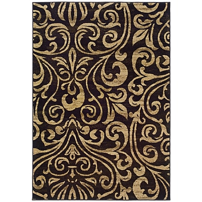 Botanical Black/ Gold Indoor Machine-made Polypropylene Area Rug (310 X 55)