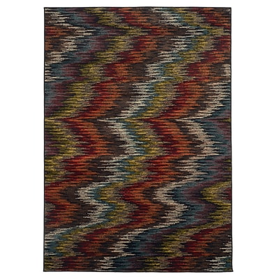Abstract Ikat Multi/ Black Indoor Machine-made Polypropylene Area Rug (710 X 10)