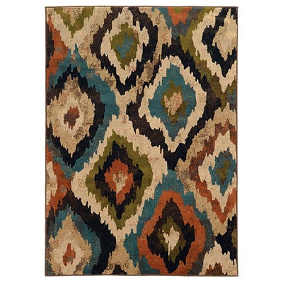 Abstract Ikat Blue/ Brown Indoor Machine-made Polypropylene Area Rug (67 X 96)
