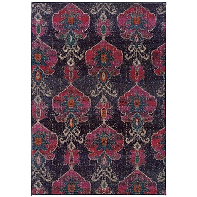 Abstract Floral Grey/ Pink Indoor Machine-made Polypropylene Area Rug (53 X 76)