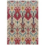 Abstract Floral Ivory/ Red Indoor Machine-made Polypropylene Area Rug (710 X 11)