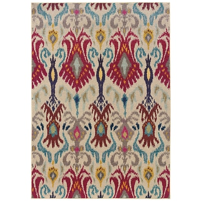 Abstract Floral Ivory/ Red Indoor Machine-made Polypropylene Area Rug (67 X 91)