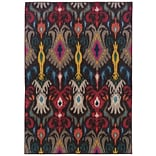 Abstract Floral Grey/ Multi Indoor Machine-made Polypropylene Area Rug (53 X 76)