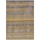 Distressed Abstract Yellow/ Grey Indoor Machine-made Polypropylene Area Rug (53 X 76)