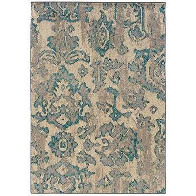 Distressed Floral Ivory/ Blue Indoor Machine-made Polypropylene Area Rug (67 X 91)