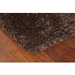 Shag Brown/ Black Indoor Machine-made Polypropylene Area Rug (53 X 79)