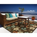 Floral Brown/ Ivory Indoor/Outdoor Machine-made Polypropylene Area Rug (37 X 56)