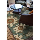 Floral Blue/ Brown Indoor/Outdoor Machine-made Polypropylene Area Rug (37 X 56)