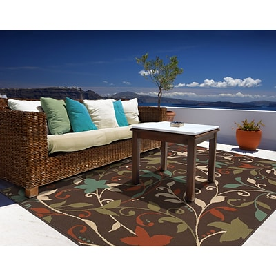 Floral Brown/ Green Indoor/Outdoor Machine-made Polypropylene Area Rug (53 X 76)