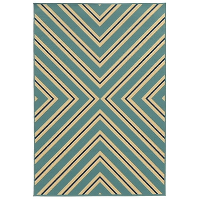 Geometric Blue/ Ivory Indoor/Outdoor Machine-made Polypropylene Area Rug (53 X 76)