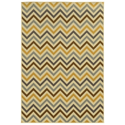 Chevron Grey/ Gold Indoor/Outdoor Machine-made Polypropylene Area Rug (53 X 76)