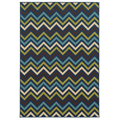 Chevron Blue/ Green Indoor/Outdoor Machine-made Polypropylene Area Rug (37 X 56)