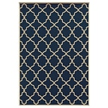 Geometric Blue/ Ivory Indoor/Outdoor Machine-made Polypropylene Area Rug (37 X 56)