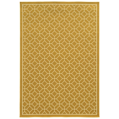 Geometric Gold/ Ivory Indoor/Outdoor Machine-made Polypropylene Area Rug (710 X 1010)