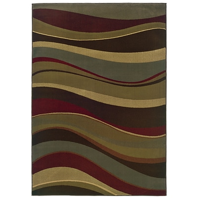 Abstract Beige/ Green Indoor Machine-made Polypropylene Area Rug (82 X 10)