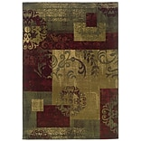 Abstract Green/ Red Indoor Machine-made Polypropylene Area Rug (5 X 76)