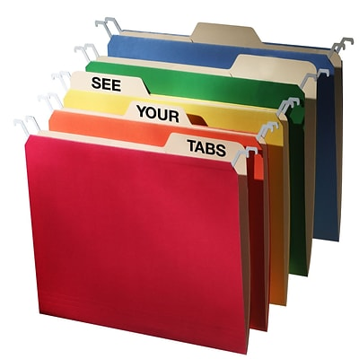 Find It® Letter Tab View Hanging File Folder, Assorted, 20/Pack