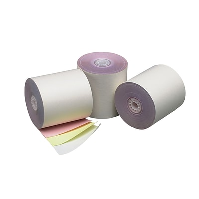 PM Company® Perfection® 3 1/4 x 75 3 Ply Cash Register/POS Paper Roll, White/Canary/Pink
