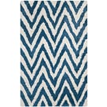Safavieh Chevron Shag Rectangle Area Rug, 5 x 8, Ivory/Blue