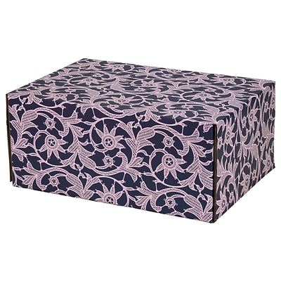 8.8(L)X 5.5(W)X12.2(H) GPP Gift Shipping Box, Classic Line, Purple Lace, 6/Pack