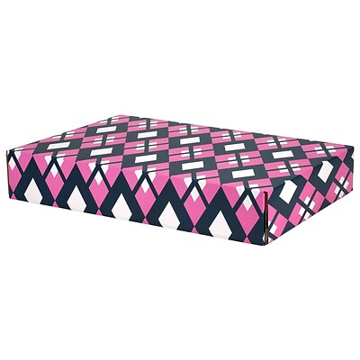 12.2(L)x 3(W)x17.8(H) GPP Gift Shipping Box, Classic Line, Pink/Navy Argyle, 6/Pack