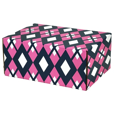 8.8X 5.5X12.2 GPP Gift Shipping Box, Classic Line, Pink/Navy Argyle, 24/Pack
