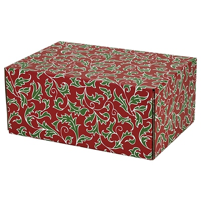 8.8(L)X 5.5(W)X12.2(H) GPP Gift Shipping Box, Holiday Line, Christmas Holly, 48/Pack