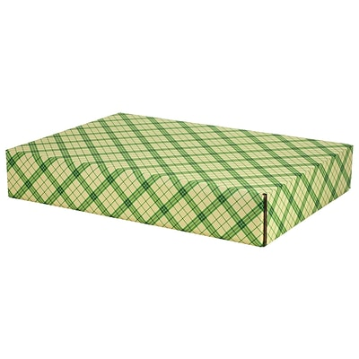12.2x 3x17.8 GPP Gift Shipping Box, Holiday Line, Green Plaid, 24/Pack