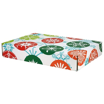 12.2(L)x 3(W)x17.8(H) GPP Gift Shipping Box, Holiday Line, Jumbo Snowflakes, 6/Pack
