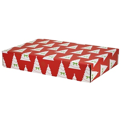 12.2(L)x 3(W)x17.8(H) GPP Gift Shipping Box, Holiday Line, Christmas Trees, 24/Pack