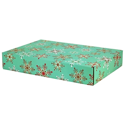 12.2(L)x 3(W)x17.8(H) GPP Gift Shipping Box, Holiday Line, Teal Snowflakes, 24/Pack