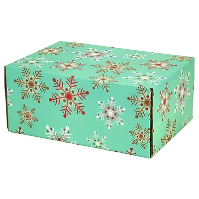 6.2(L)X 3.7(W)X9.5(H) GPP Gift Shipping Box, Holiday Line, Teal Snowflakes, 6/Pack